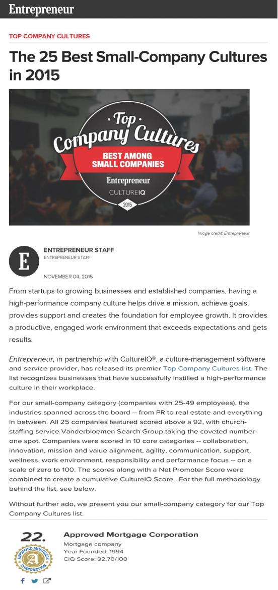 Entreprenuer Magazine Feature article
